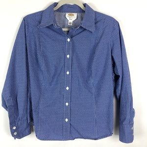 Talbots Stretch Button Up Blue & White Patterned